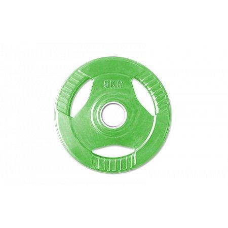 Фитнес памп (блины обрезиненные с хватом для штанги BP3031) 30мм 5кг PL26-5 (отв. d-30мм,зеленый)