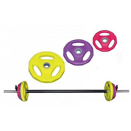 Фитнес памп (штанга для фитнеса) BP3031 20кг (гриф l-1,3м, d-28мм, обрезин.блины 2x(1,25+2,5+5кг))