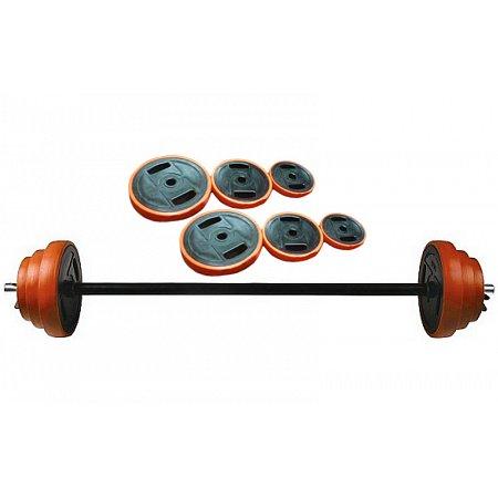 Фитнес памп (штанга для фитнеса) FI-30300 20кг (грифl-1,3м,d-25мм,в плас.обол.блины 2x(1,25+2,5+5кг)