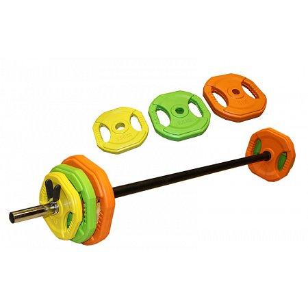 Фитнес памп (штанга для фитнеса) FI-4247 20кг (гриф l-1,3м, d-25мм, обрезин.блины 2x(1,25+2,5+5кг))