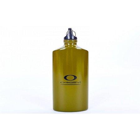 Фляга туристическая алюминиевая плоская Oakley V-0,5л TY-5554 (алюминий,подвес с компасом,оливковый)