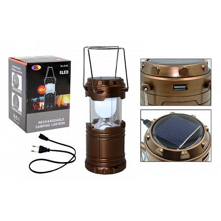 Фонарь кемпинговый светодиод. складной G85 (led,бат-3 AA, USB вход, аккум, солн.бат, р-р 13,3х8,7см)