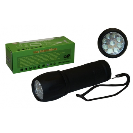 Фонарик ручной светодиодный BL-512-9 (пластик, 9 светодиод, на батарейках (3 AAA), l-10,5см)