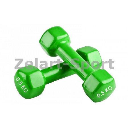 Гантели для фитнеса с виниловым покрытием Радуга (2x0,5кг) TA-0001-0,5-LG (2шт, салатовый)