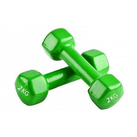 Гантели для фитнеса с виниловым покрытием Радуга (2x2кг) TA-0001-2-LG (2шт, салатовый)