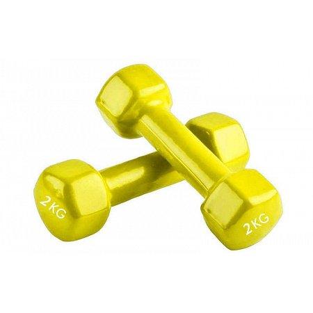 Гантели для фитнеса с виниловым покрытием Радуга (2x2кг) TA-0001-2-Y (2шт, желтый)