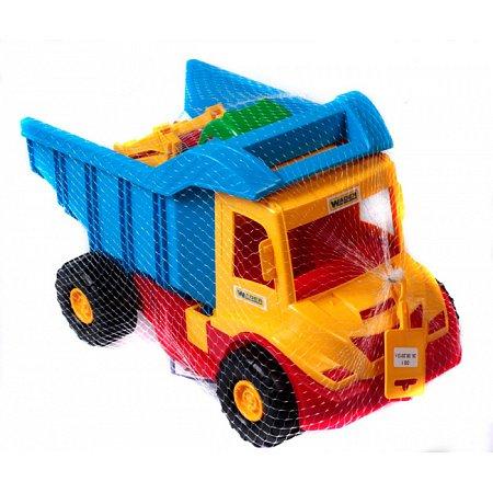 Грузовик с трактором (желтый-синий), 38 см, Wader, 39219-3