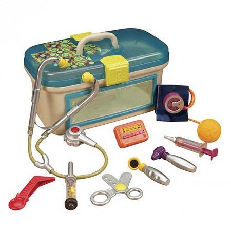 Игровой набор доктора - БУДЬТЕ ЗДОРОВЫ (с аксессуарами, свет, звук, синий), Battat BX1110Z