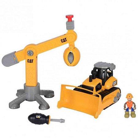Игровой набор-конструктор Machine Maker бульдозер и подъемный кран CAT, Toy State, 80912