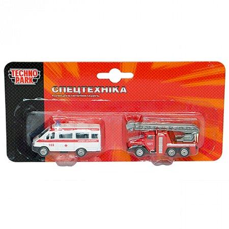 Игровой набор - Спецслужбы (пожарная и скорая), Технопарк, SB-15-07-BLC