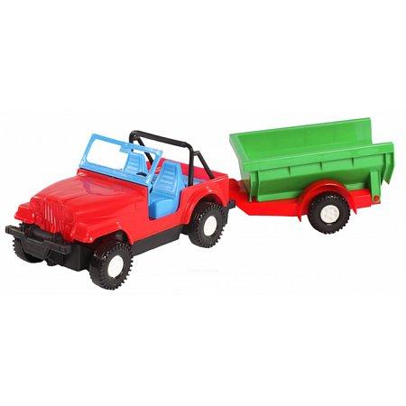 Игрушечная машинка авто-джип с прицепом, Wader, красный джип зеленый прицеп, 39007-4