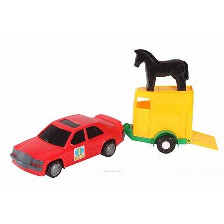 Игрушечная машинка, авто-мерс красный с прицепом и лошадкой, Wader, красный с лошадкой, 39003-2