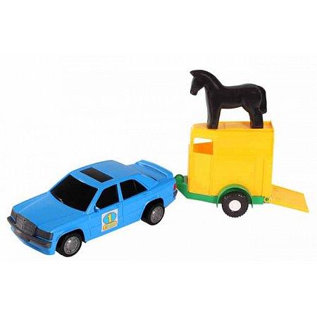 Игрушечная машинка, авто-мерс синий с прицепом и лошадкой, Wader, синий с лошадкой, 39003-1