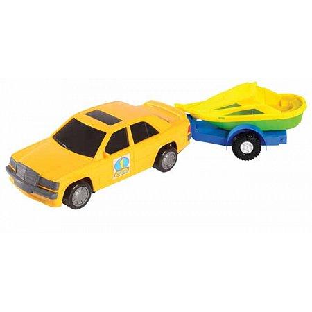 Игрушечная машинка, авто-мерс желтый с прицепом и лодкой, Wader, желтый с лодкой, 39003-7