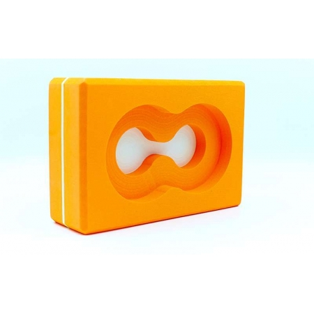 Йога-блок с отверстием FI-5163-O (EVA, р-р 23х15х7,5см, оранжевый)