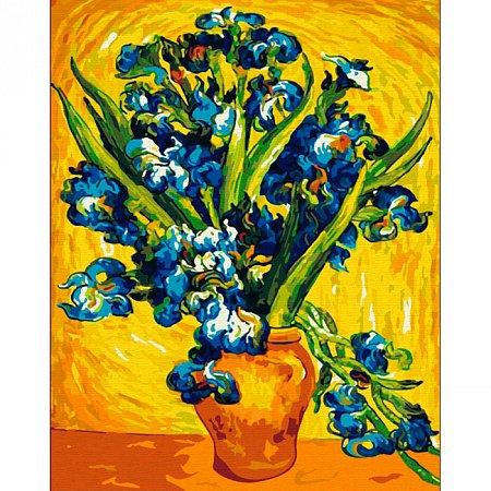 Ирисы в вазе, серия Букет, рисование по номерам, 40 х 50 см, Идейка, KH2013