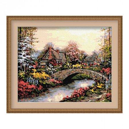 Каменный мостик, серия Деревенский пейзаж, рисование по номерам, 40 х 50 см, Идейка, Каменный мостик (MG031)