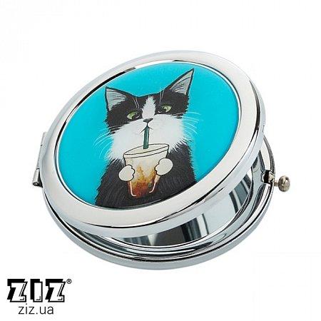 Карманное зеркало Кот со стаканом, ZIZ-27019