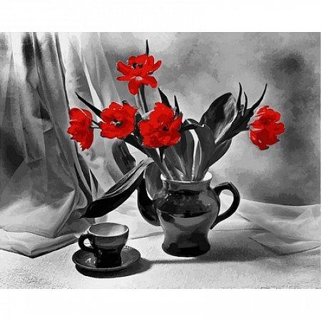 Картина по номерам Алые тюльпаны в вазе 40х50см, Babylon VP726