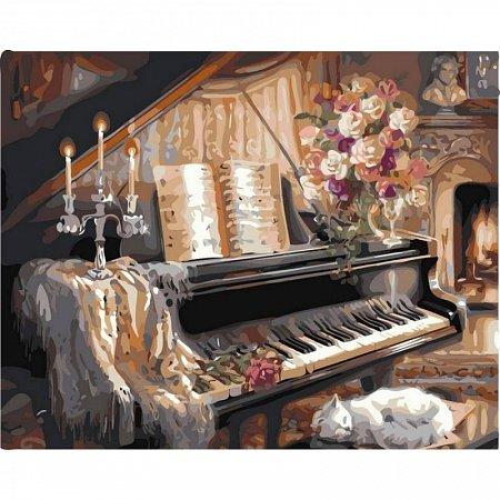 Картина по номерам Музыкальный вечер у камина 40х50см, Babylon VP124