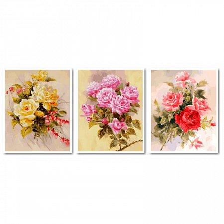 Картина по номерам Нежные розы. Триптих 120х50см, Babylon VPT013