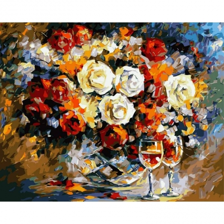 Картина по номерам Розы и вино 40х50см, Babylon VP063