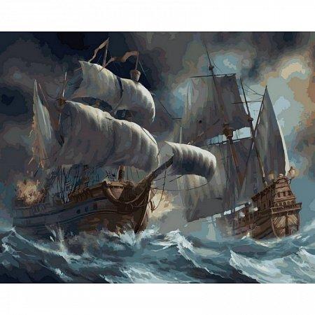 Картина по номерам Сражение кораблей во время шторма 40х50см, Babylon VP257