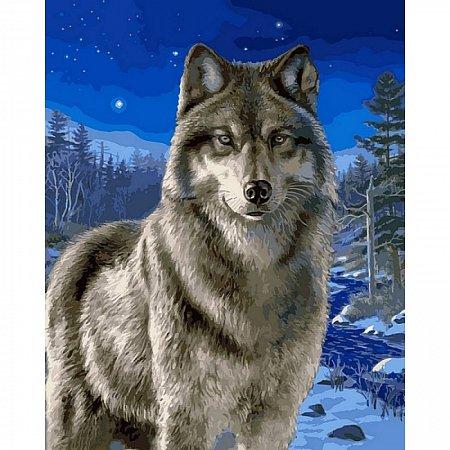 Картина по номерам Волк в зимнем лесу 40х50см, Babylon VP467