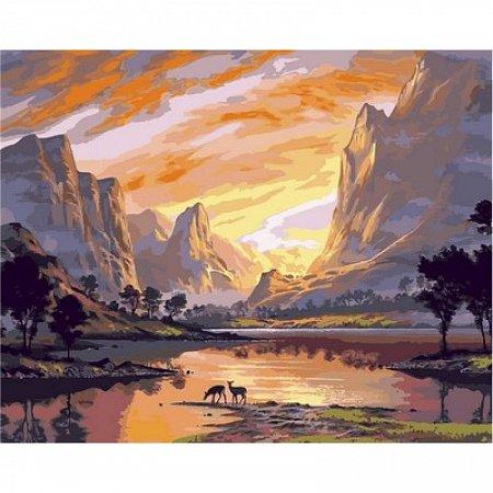 Картина по номерам Закат над горной долиной 40х50см, Babylon VP652