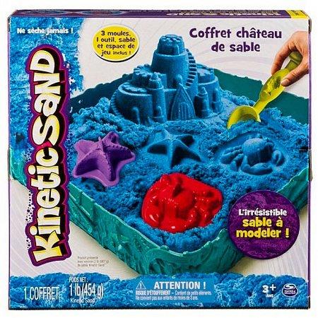 Кинетический песок, Замок из песка (голубой, 454 г, формочки, лоток), Kinetic Sand, 71402B