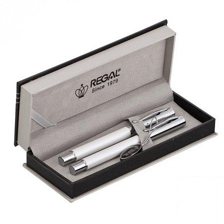 Комплект ручек Regal (перьевая + роллер) в подарочном футляре, белый (R2456407.P.RF) Regal