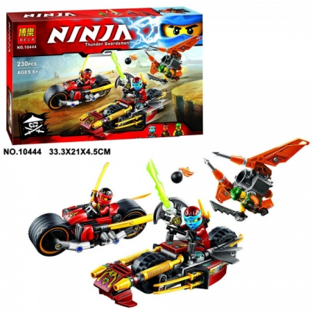 Конструктор BELA Ninja 10444 Погоня на мотоциклах 230 деталей