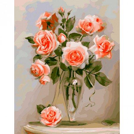 Коралловые розы, серия Букет, рисование по номерам, 40 х 50 см, Идейка, KH2034