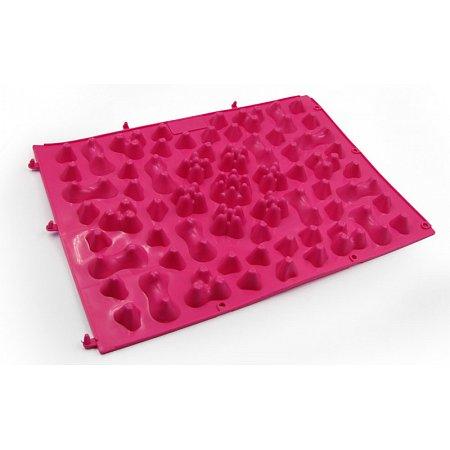 Коврик-пазл ортопедический массажный резиновый (1шт) ZD-5082-P (резина, р-р 38см x 27см, розовый)