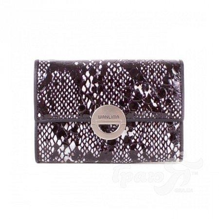 Кожаный женский кошелек WANLIMA (ВАНЛИМА) W11045340662-black-white