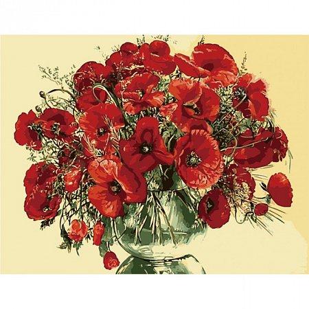 Красные маки в стеклянной вазе, Серия Букет, рисование по номерам, 40 х 50 см, Идейка, Красные маки в стеклянной вазе (KH1076)