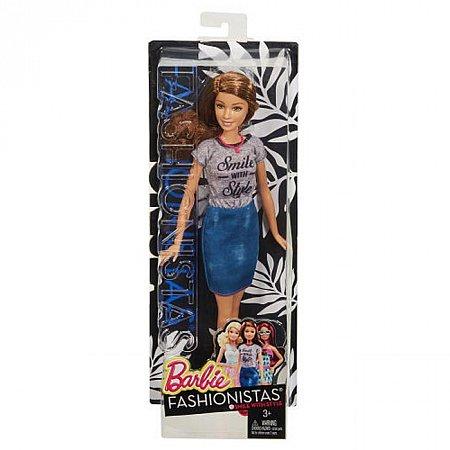 Кукла Барби Модница, в джинсовой юбке и серой футболке, Barbie, Matell, серая футболка, джинсовая юбка, DGY54-6