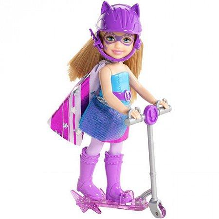 Кукла Челси в фиолетовом с самокатом, серия Суперпринцесса, Barbie, Mattel, в фиолетовом, CDY68-1