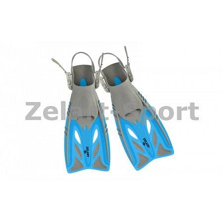 Ласты детские с открытой пяткой (пяточный ремень) 442 ZEL ZP-442-L-XL (р-р L-XL-32-37,жёлт,син,крас)