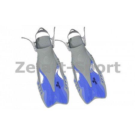 Ласты детские с открытой пяткой (пяточный ремень) 446 ZEL ZP-446-S-MD (р-р S-MD-27-31,жёлт,син,черн)