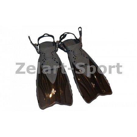 Ласты детские с открытой пяткой (пяточный ремень) 450 ZEL ZP-450-L-XL (р-р L-XL-32-37,жёлт,син, чер)