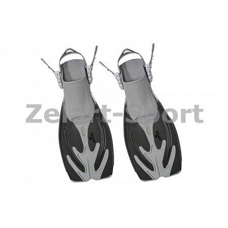 Ласты детские с открытой пяткой (пяточный ремень) 454 ZEL ZP-454-L-XL (р-р L-XL-32-37, жёлт,син,чер)
