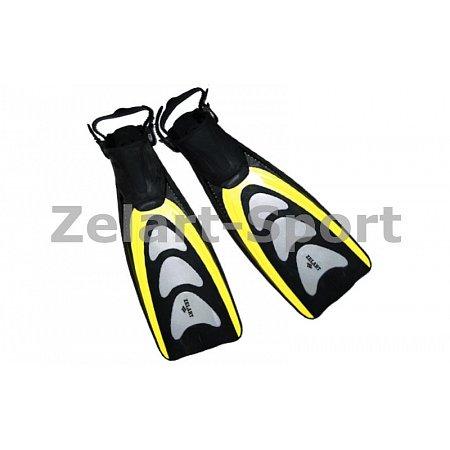 Ласты с открытой пяткой (пяточный ремень) 433 ZEL ZP-433-M-L (р-р M-L-38-43, жёлтый, синий, серебро)