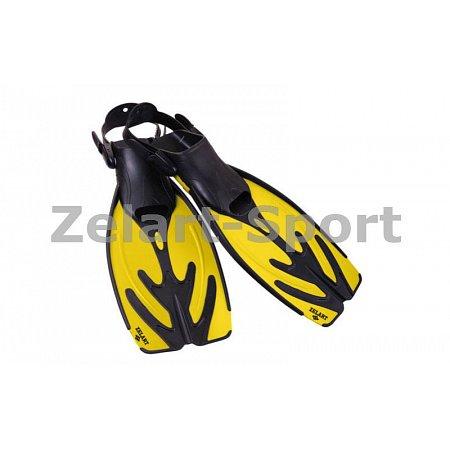 Ласты с открытой пяткой (пяточный ремень) 435 ZEL ZP-435-L-XL (р-р L-XL-42-45, жёлтый,синий,серебро)