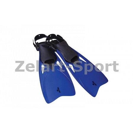 Ласты с открытой пяткой (пяточный ремень) 438 ZEL ZP-438-L-XL (р-р L-XL-42-45, жёлтый,синий,серебро)