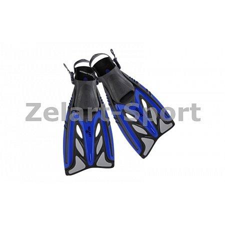 Ласты с открытой пяткой (пяточный ремень) 441 ZEL ZP-441-S-M (р-р S-M-38-41, жёлтый, синий, чёрный)