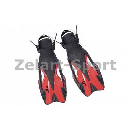 Ласты с открытой пяткой (пяточный ремень) 445 ZEL ZP-445-S-M (р-р S-M-38-41, желтый, синий, красный)