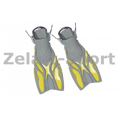 Ласты с открытой пяткой (пяточный ремень) 449 DORFIN PL-449-L-XL (р-р L-XL-42-45, жёлт, синий, черн)