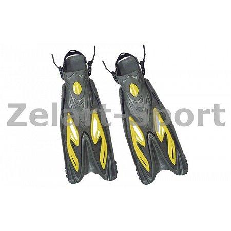 Ласты с открытой пяткой (пяточный ремень) 453 DORFIN PL-453-S-M (р-р S-M-38-41, жёлтый,синий,красн)
