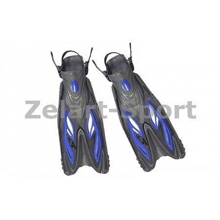 Ласты с открытой пяткой (пяточный ремень) 453 ZEL ZP-453-S-M (р-р S-M-38-41, жёлтый, синий, красный)